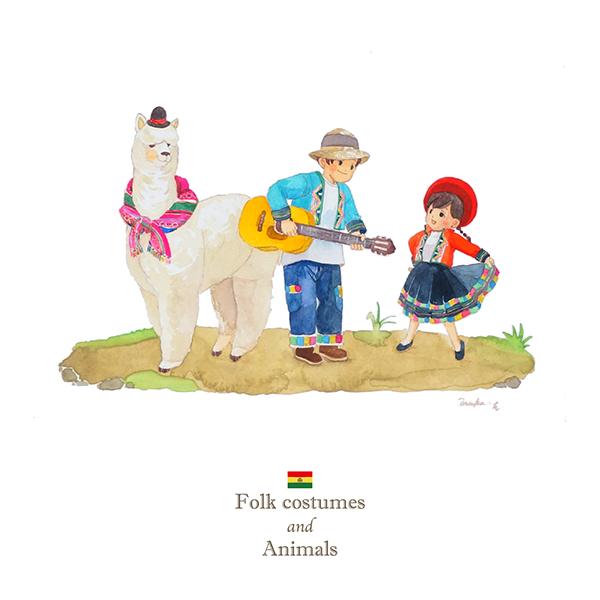 ボリビア×アルパカのイラスト