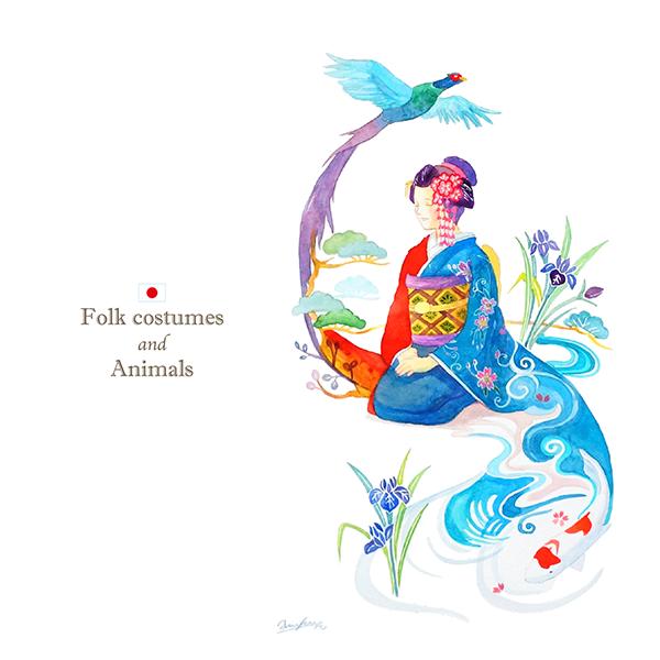 日本×キジ×錦鯉のイラスト